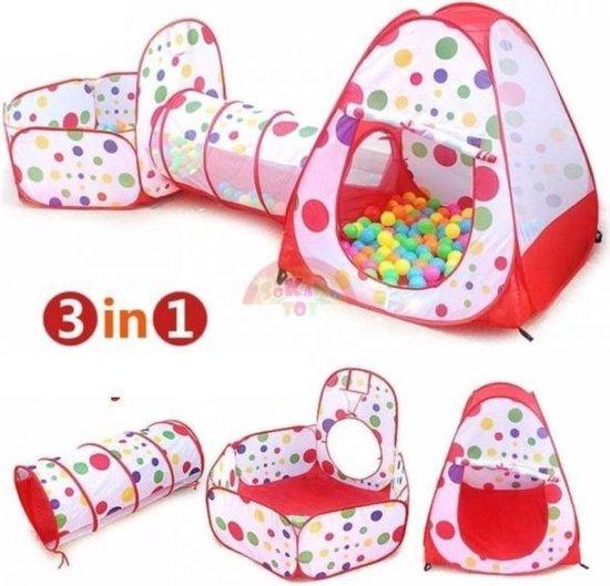 3-in-1 Speeltent Met Tunnel Voor Kinderen - Kruiptunnel - Speelgoed Speelhuis Tent Kindertent