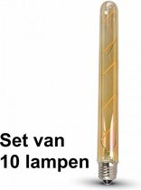 5W E27 Filament Led Tube (T30) Amber Glas  - Super warm wit - (2200K) - Set van 10 stuks