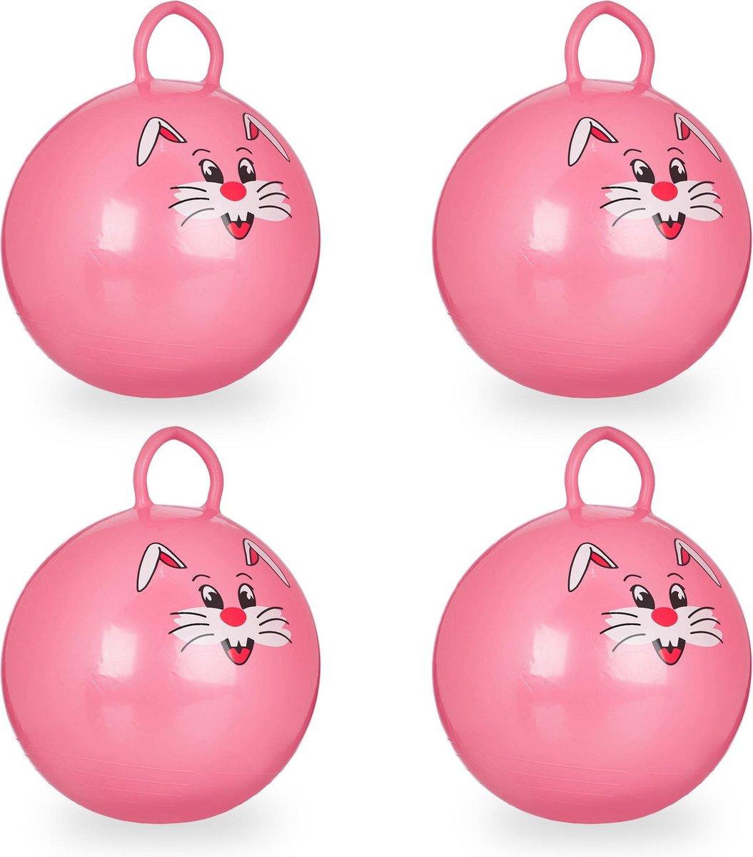 relaxdays 4 x skippybal in set - voor kinderen - Met konijn opdruk - springbal - roze