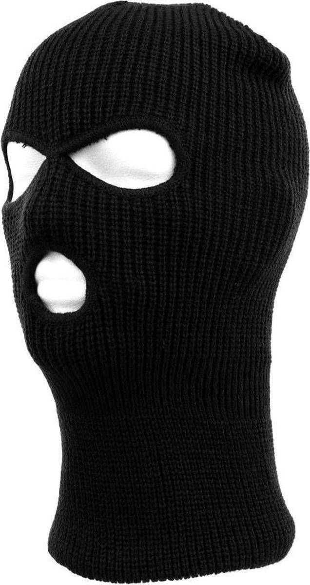 Driegaats muts / skimuts - zwart - one size - outdoor / bivak / wintersport - warme eengaats balacla
