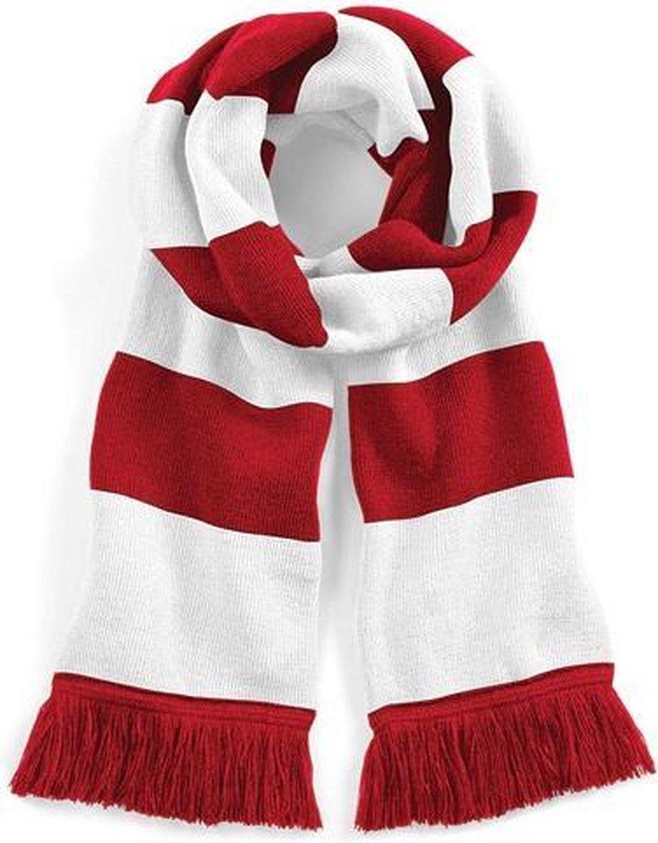 Beechfield Sjaal met brede streep rood/wit Unisex - sjaal lengte 182 cm - Beechfield