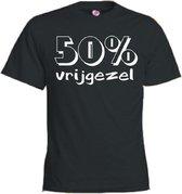 Mijncadeautje T-shirt - 50% vrijgezel - Unisex Zwart (maat L)