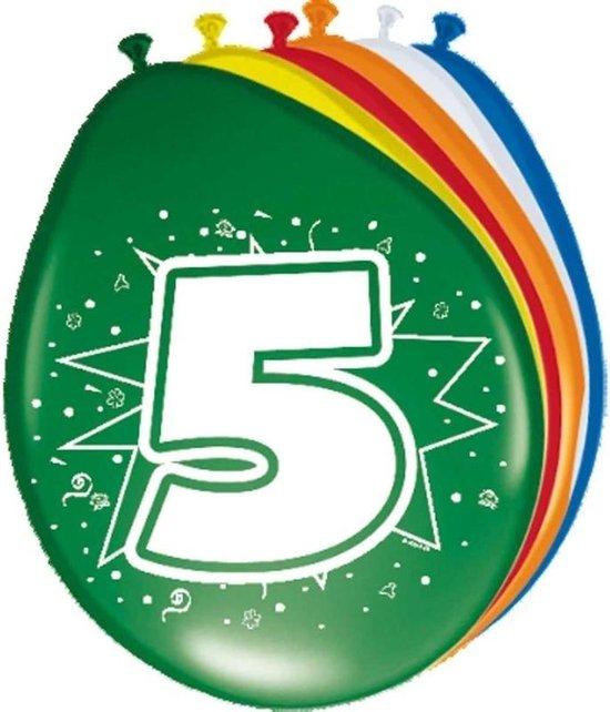 8x stuks Ballonnen versiering 5 jaar