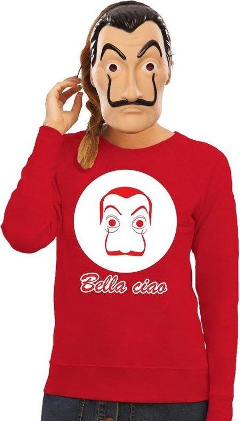 Rood Salvador Dali sweatshirt maat S - met La Casa de Papel masker voor dames - kostuum