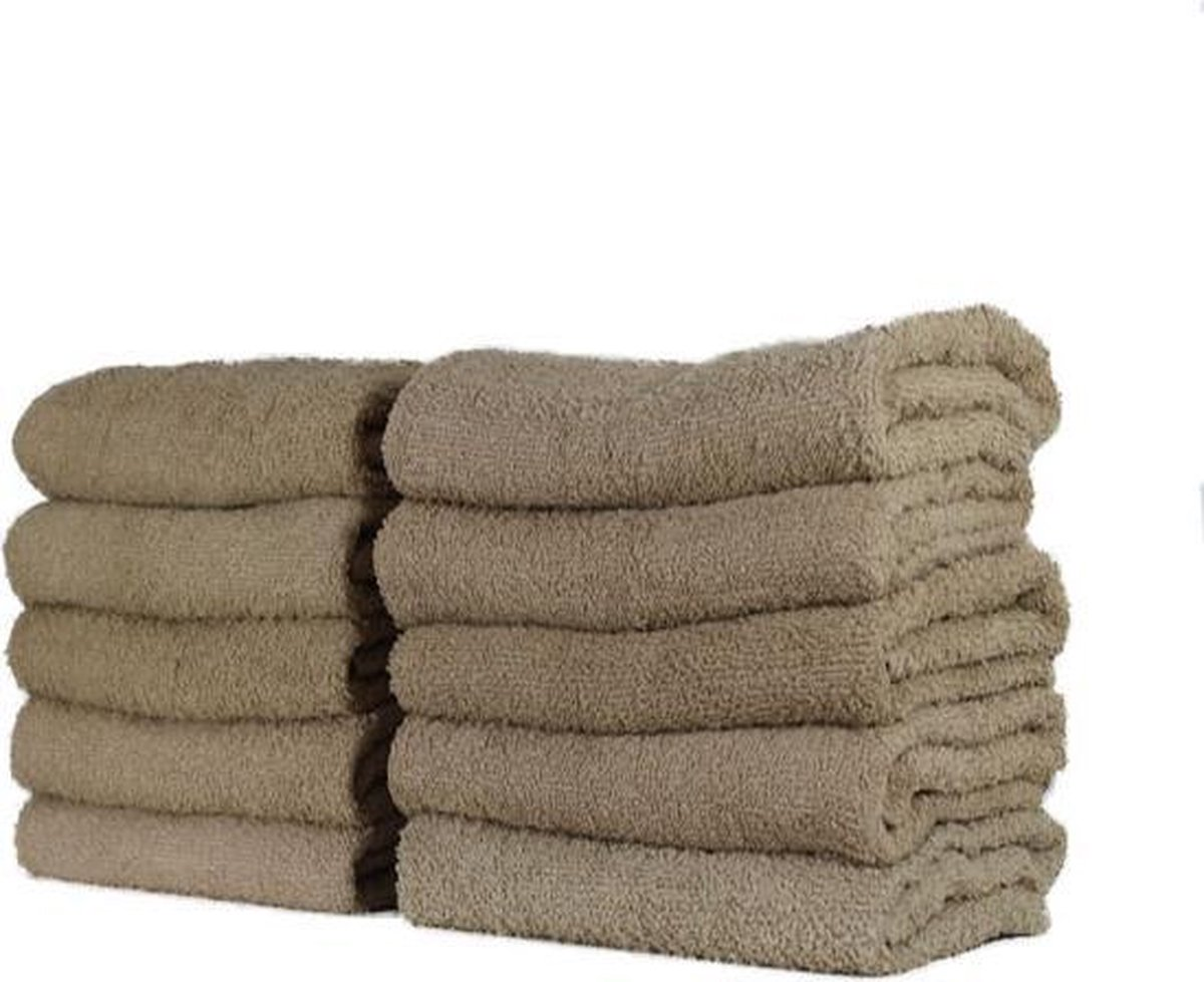Katoenen Handdoek – Taupe - Set van 3 Stuks - 50x100 cm - Heerlijk zachte badhanddoeken - Merkloos