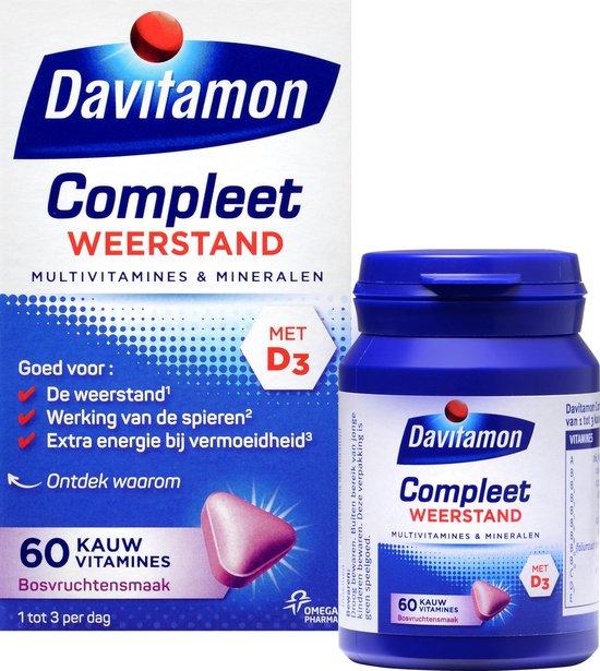 Davitamon Compleet Weerstand Kauwvitamines met vitamine D - Multivitamine - bosvruchten - 60 tabletten