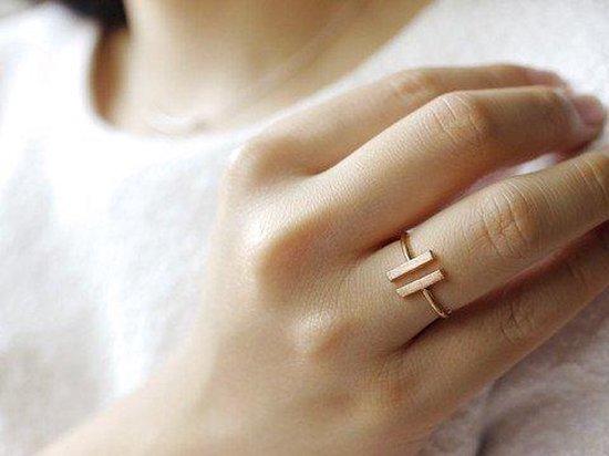 Lovelymusthaves Dubbele bar minimalistische Ring - Dames - verstelbaar zilverkleurig in luxe geschenkdoos - Lovelymusthaves