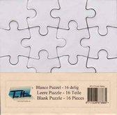 15x Blanco Puzzels - 16 puzzelstukjes - 10,5 x 10,5cm