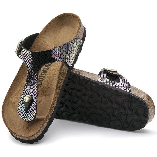 Birkenstock Gizeh Shiny Snake Black Multicolor narrow Shiny Snake