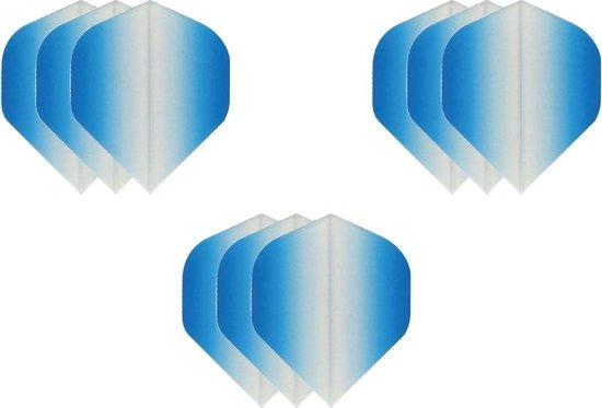 3 sets (9 stuks) Super Sterke dart flights - Dragon darts  - Fade Sides Blauw -  darts flights
