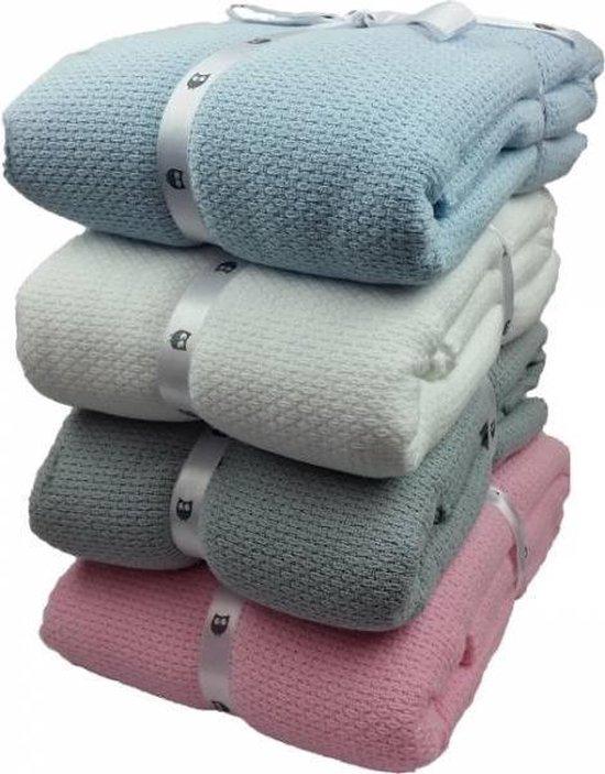Briljant Baby Pique deken - 75x100cm - kleur lichtblauw