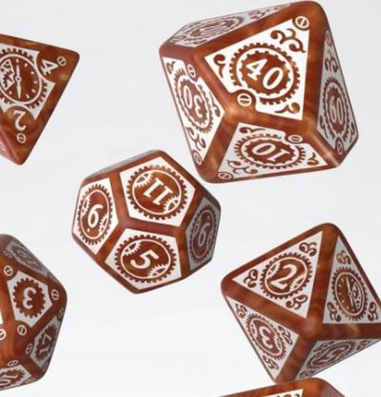 Thumbnail van een extra afbeelding van het spel Steampunk Clockwork Caramel & white Dice Set