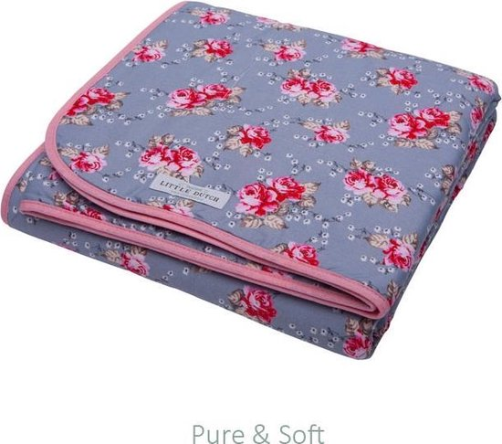 Product: Little Dutch Wieg deken pure & soft - Grijs met roosjes, van het merk Little Dutch