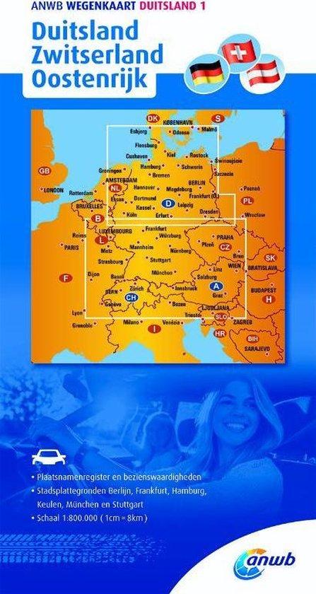 ANWB wegenkaart Duitsland 1 Duitsland/Zwitserland/Oostenrijk - ANWB |