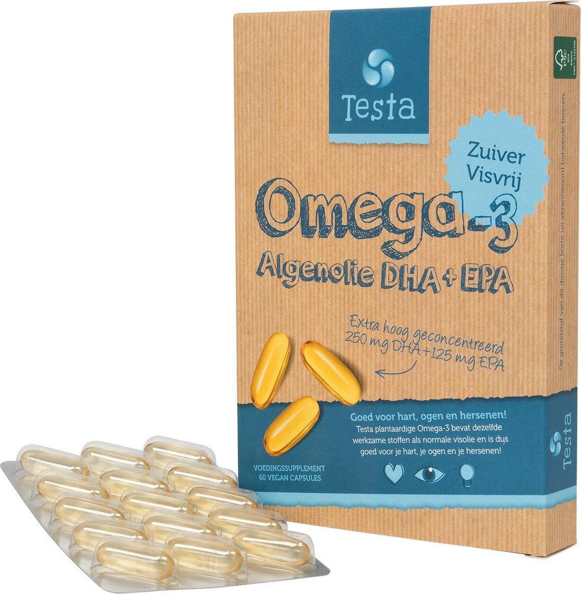 Testa Omega 3 Algenolie. Hoogste concentratie Vegan Omega-3 DHA + EPA. 60 Capsules - Plantaardig Voe