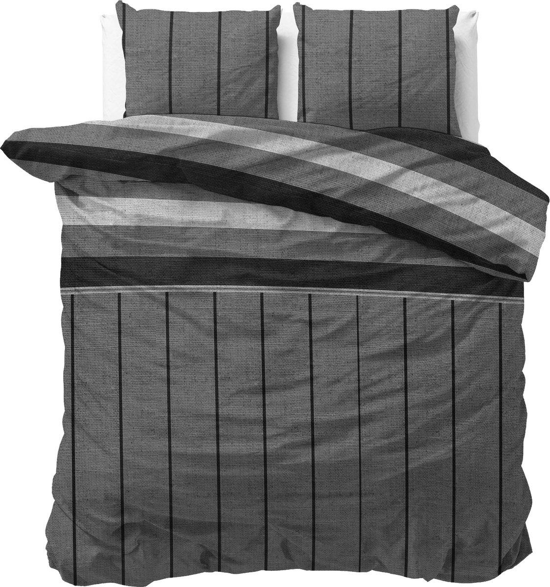 Sleeptime Katoen Kees Dekbedovertrekset - Tweepersoons - 200x200/220 + 2 kussenslopen 60x70 - Grijs