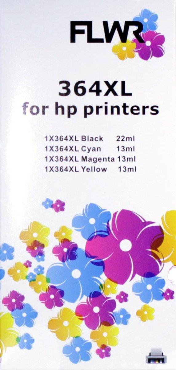 FLWR - Inktcartridge / 364XL multiPack / Zwart en Kleur - geschikt voor HP - FLWR