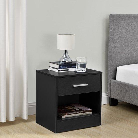 en.casa nachtkastje met 1 lade en open vak - zwart