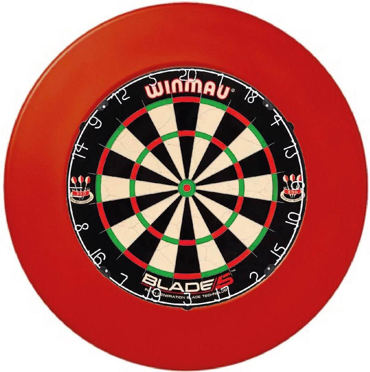 Winmau Blade 5 met Rubberen Dartbord Surround Ring Rood en ABC Darts scorebord