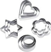 EPIN 3D / 12 Delig Koekjes Uitstekers Set / RVS / Koek Vormpjes / Koekvormpjes