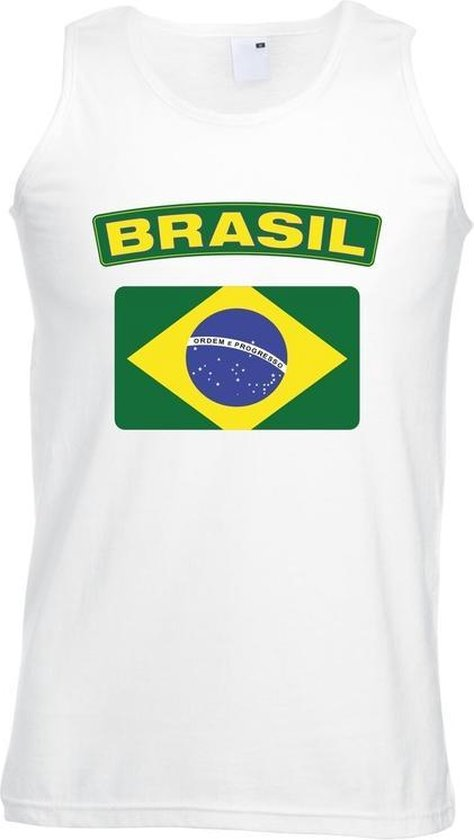 Singlet shirt/ tanktop Braziliaanse vlag wit heren 2XL