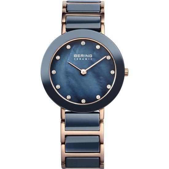 BERING Ceramic 11429-767 - Horloge - Staal | Keramiek - Rosékleurig | Blauw - Ø 29 mm