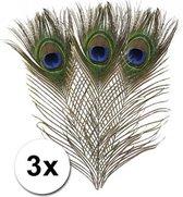 3x pauwenveren - decoratie veertjes