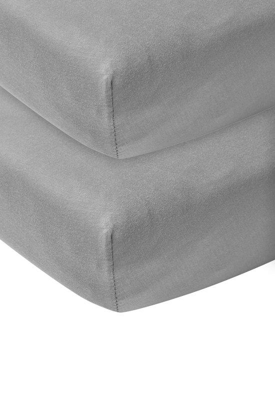 Meyco jersey hoeslaken 2-pack - 40x80/90 - grijs