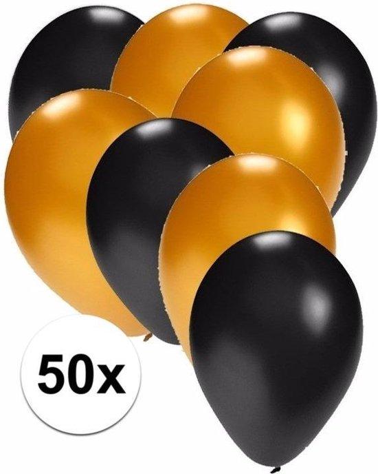 50x ballonnen zwart en goud - knoopballonnen