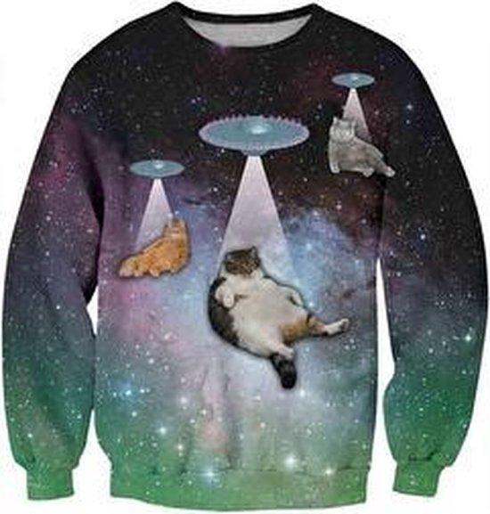Galaxy katten met UFO's trui Maat M