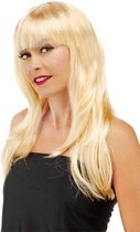Blonde Pruik Lang Haar en Pony