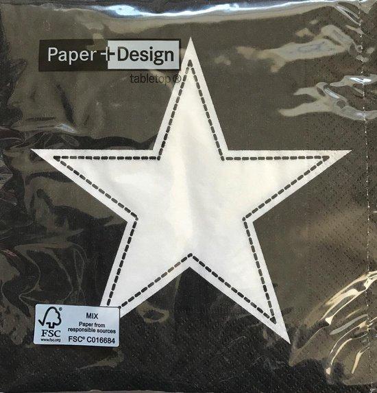 Paper+Design – Simply Star Black – Ster/Strepen - Zwart/Wit - Kerstmis - lunch servetten 33 x 33 cm - 3-laags - 2 pakjes à 20 stuks