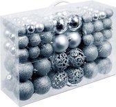 Christmas Gift Kerstballen set - 3 tot 6 cm - 100 ballen - Plastic - Zilver