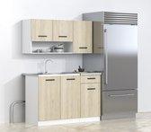 Kleine Keuken 120 cm - Keukenblok met Keukenkastjes Spoelbak & Sifon