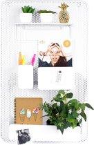 Dresz Metalen Wandrek | 3 Verplaatsbare Containers | 1 Verplaatsbaar Plank | 2 Montagehaken | Inclusief 2 Magneten | 40 x 64 cm | Wit