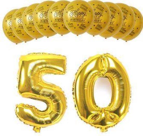 Party pakket 50 jaar / 12 stuks ballonnen
