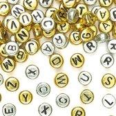 Goud- en zilverkleurige alfabet/letter kralen - creatieve knutselpakket/kralenset voor kinderen en volwassen voor armband en sieraden maken (400 stuks)
