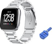 RVS Horloge Band Voor Fitbit Versa - Watchband - Strap Armband - Metalen Armband - Zilver Kleurig