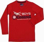 Boys In Control Jongensshirt - Rood - Maat 116
