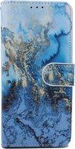 Samsung Galaxy S10E Hoesje met Print - Portemonnee Book Case - Kaarthouder & Magneetlipje - Blauwe Marmer