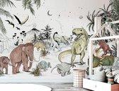 Behang Prehistoric - 430w x 300h cm - Vliesbehang Dinosaurus kinderbehang