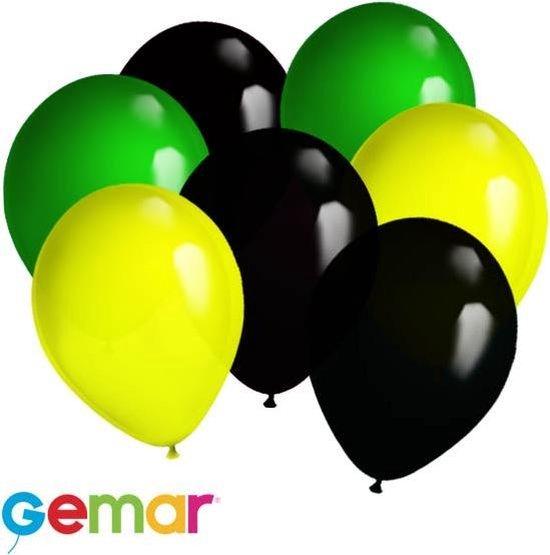 30x Ballonnen Geel,Zwart en Groen (Ook geschikt voor Helium)