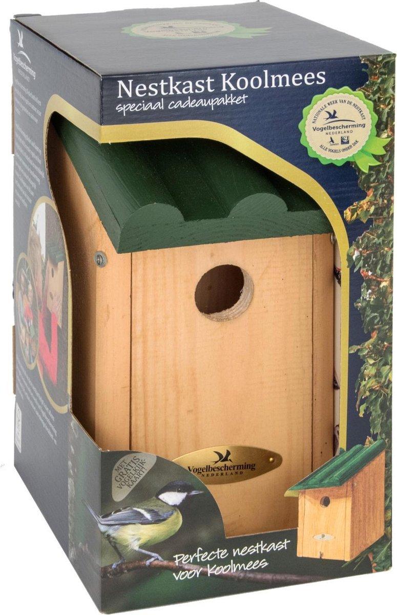 Vogelbescherming Cadeaupakket Koolmees Vogelhuisje - Bruin/Groen - 14 x 12 x 27 cm -  32 mm