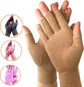 Artritis Handschoenen (Maat S) - Latexvrij - Open Vingertoppen Design - Reuma Compressie Handschoenen -  Artrose Handschoenen -  voor Tendinitis - Carpaal Tunnel Syndroom - Pijn Verlichten - voor Mannen en Vrouwen - Bruin