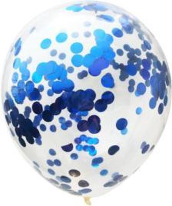 Confetti ballon blauw, 5 stuks kindercrea