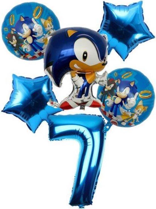 Sonic The Hedgehog Ballonen 7 Jaar Ballonnen set + 10 Blauwe Latex Ballonnen