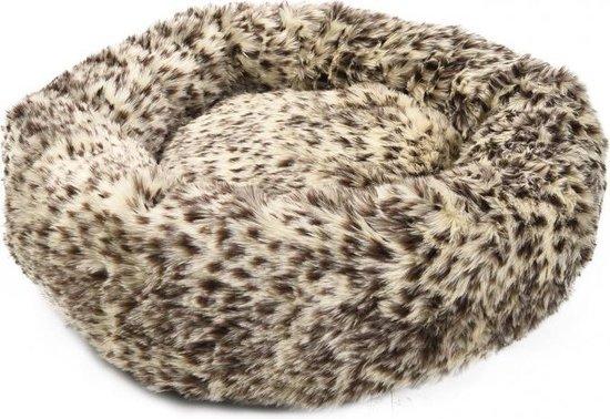 Hondenmand - mand hond - honden mand - panterprint - kleine hondjes - 50 cm - fluffy - donut - donut mand - honden donut mand - kattenmand - mand voor katten - super zacht - hondenkussen - mand - hond - kat - antislip - maat s - honden bed - kussen