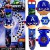 Captain America horloge - captain america projector horloge - Captain America Marvel horloge- speelgoed horloge The Avengers Captain America - Kinder horloge
