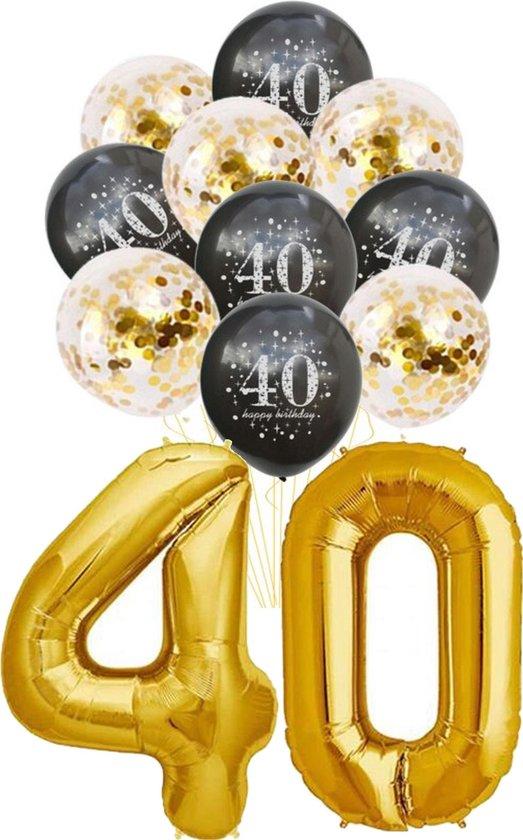 Folie Ballon 40 jaar - met 5 gouden en 5 zwarte ballonnen - Goud - Zwart - verjaardag ballonnen - 1 meter