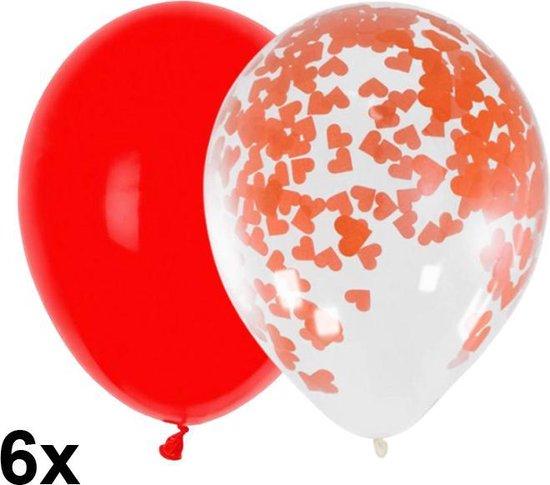 Liefde ballonnen mix met rood en doorzichtig met hartjes confetti, 6 stuks, 30cm